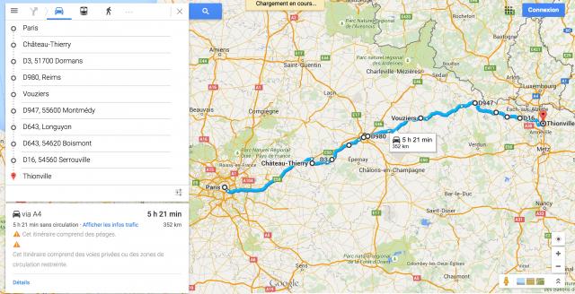 Google map_Roadbook_itinéraire